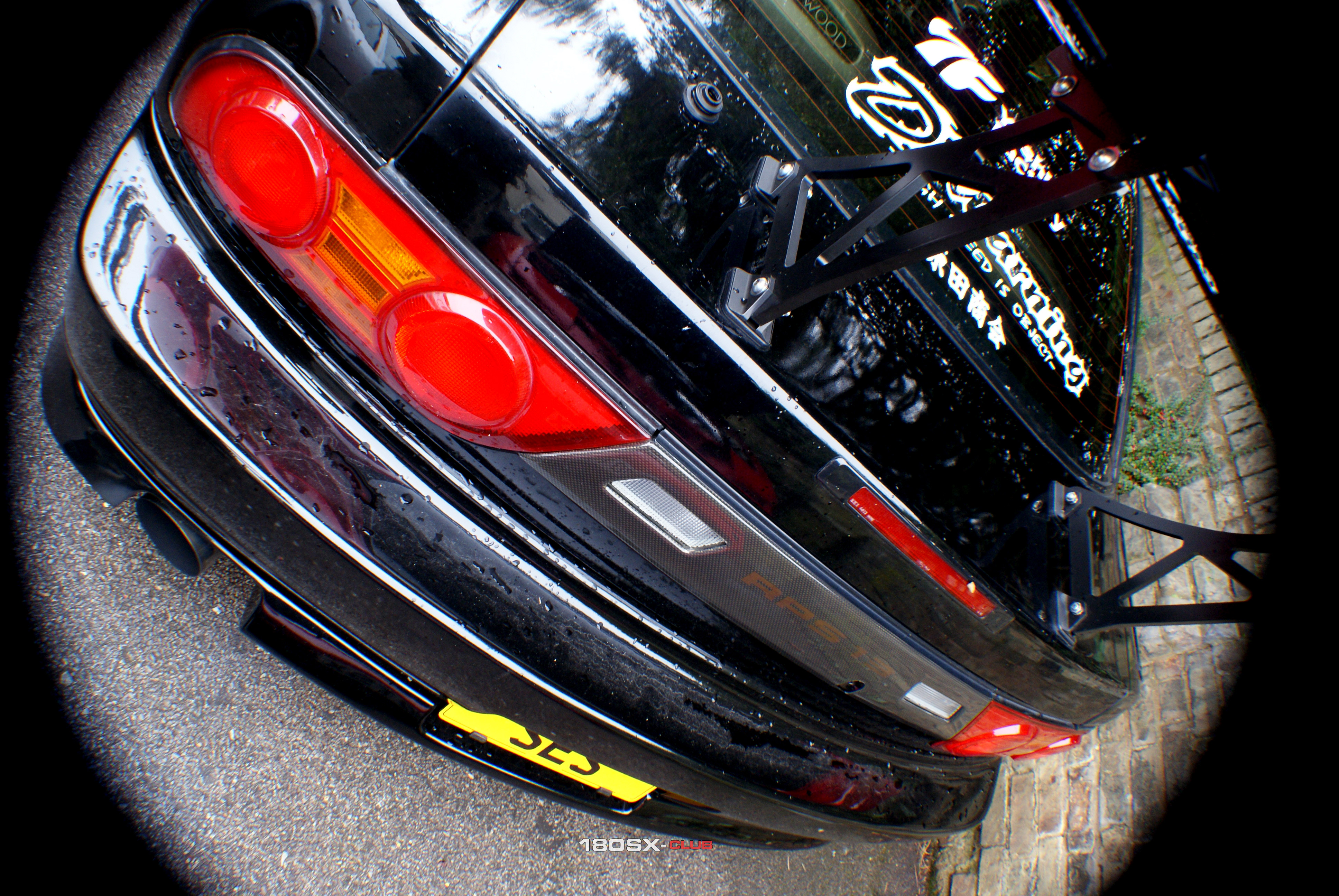 Nissan 180sx Khuro Black with GT Wing Fisheye Wallpaper