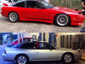 Nissan 180sx kouki in red with dish wheels side